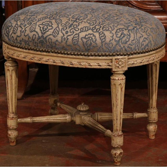 19th Century French Louis XVI Carved Painted Stool For Sale - Image 5 of 7