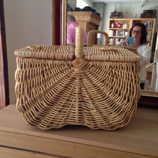 Handmade Wicker Picnic Basket - Image 2 of 5