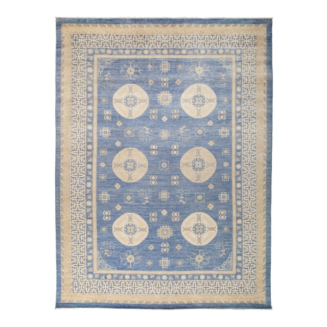 "Khotan Hand Knotted Area Rug - 9' 10"" X 13' 2"" - Image 1 of 4"