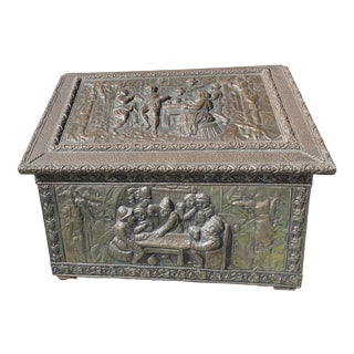 Antique Brass Fireplace Box With Repousse Figures For Sale