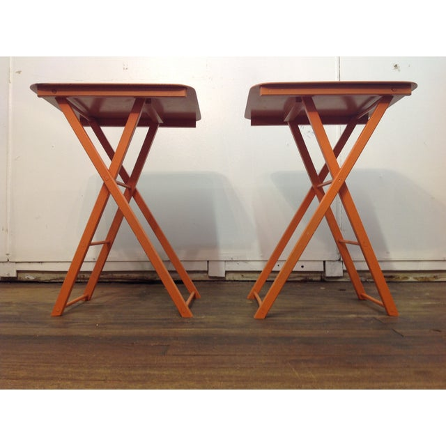 Orange Mid Century Collapsible Side Tables - Pair - Image 5 of 11