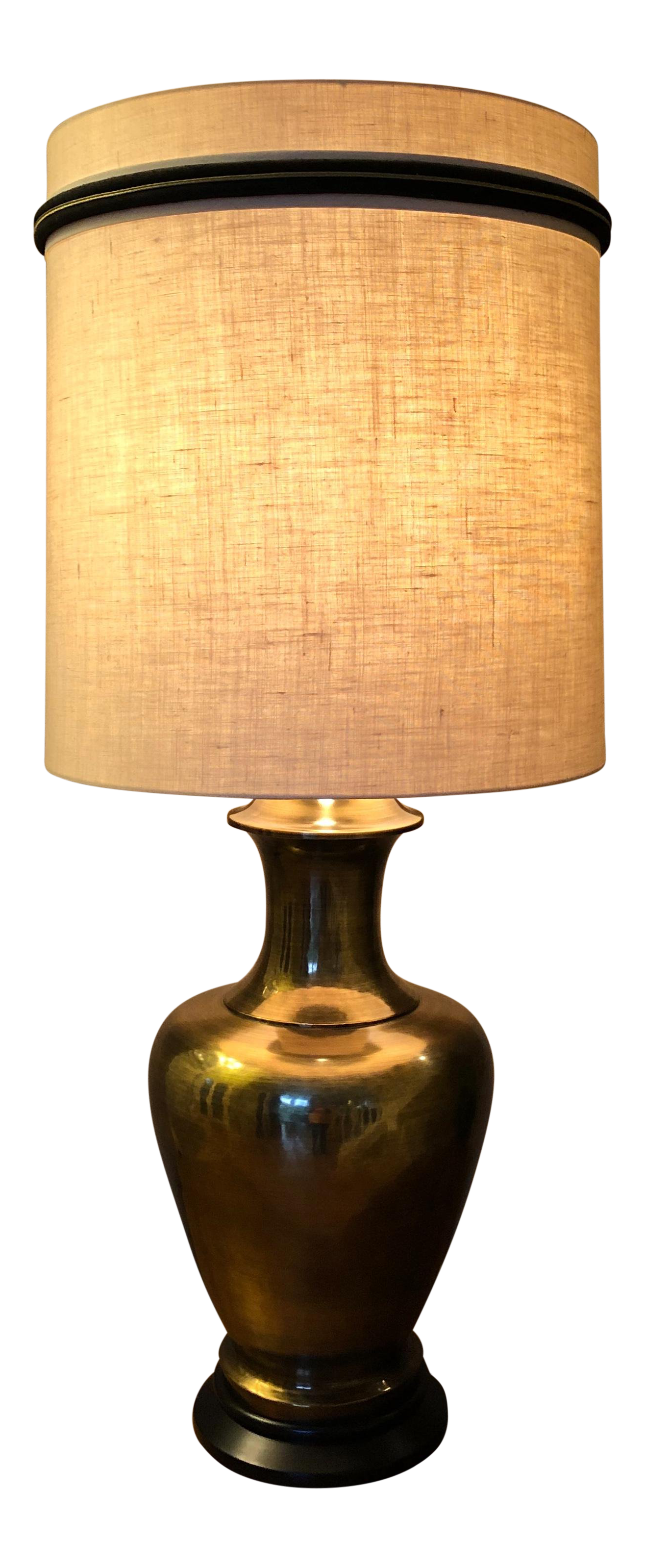Large Brass Urn Table Lamp W Shade Chairish