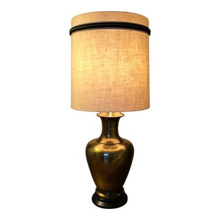 Large Brass Urn Table Lamp W/Shade For Sale