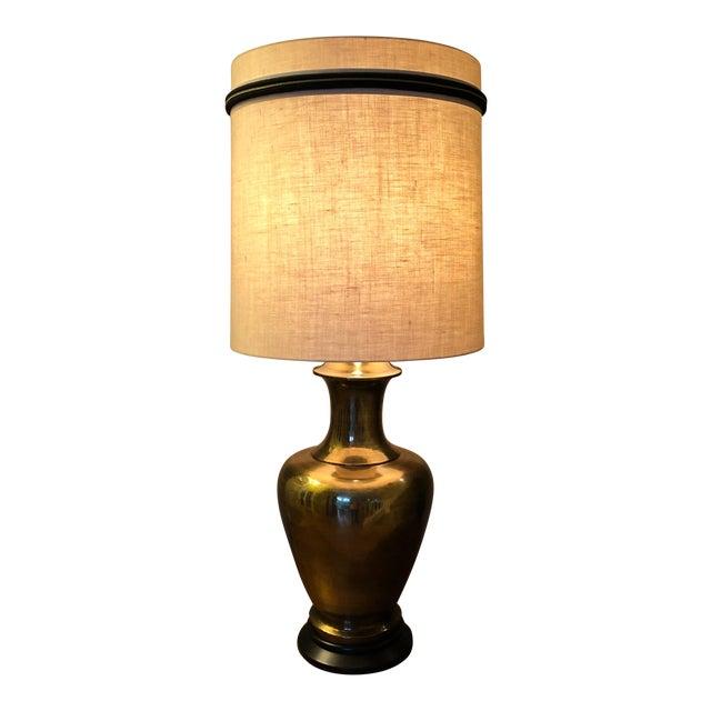 Large Brass Urn Table Lamp W Shade Chairish