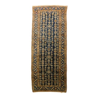 """Antique Blue Persian Gallery Rug4'3""""x 10'4"""" For Sale"""