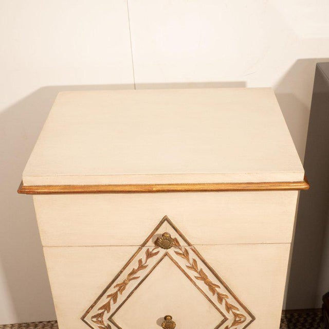 Empire Pair of Directoire Style Painted Bedside Tables For Sale - Image 3 of 9