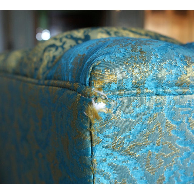 Blue and Gold Tufted Sofa by Howard Palmer for Harmony House For Sale - Image 9 of 11