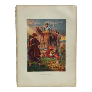 "Late 19th Century Antique ""Conversion of Saul"" Religious Print For Sale"