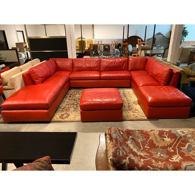 Design Plus Gallery presents a Custom Leather Leipzig Sectional + Ottoman Set by Belmar Upholstery. Meticulously hand...