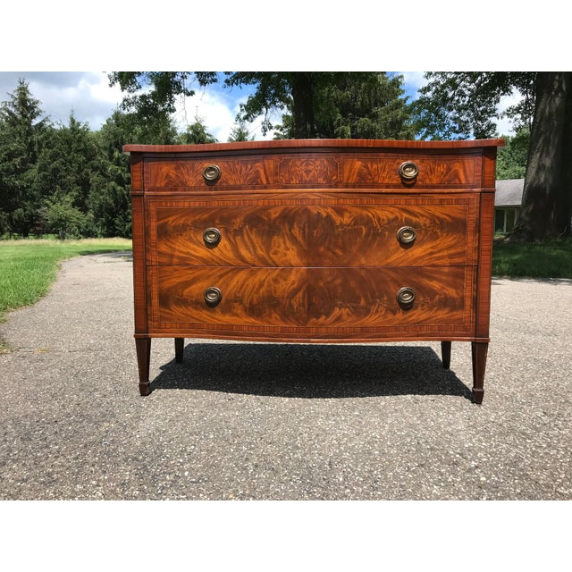 Art Deco Burled Walnut Bow Front Dresser by John Widdicomb For Sale - Image 3 of 13