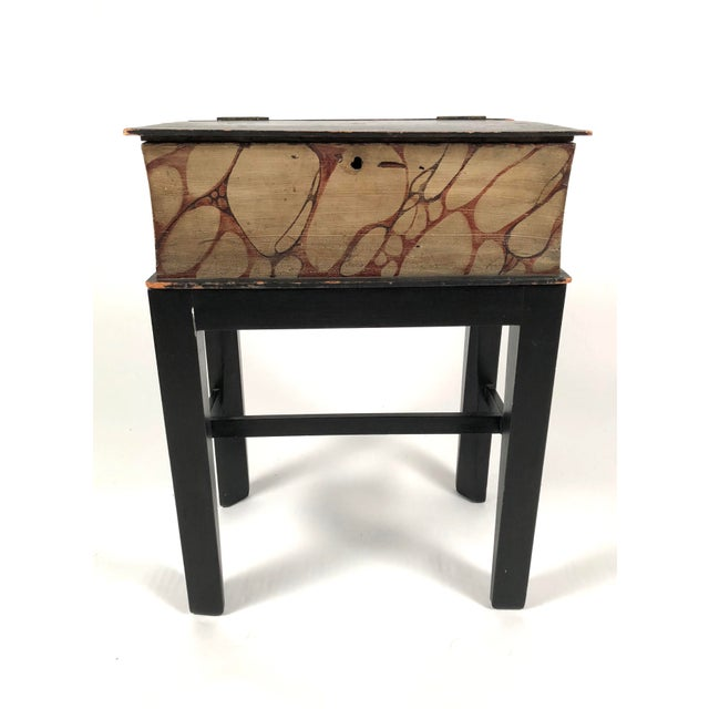 Black 19th Century Painted Wood Book Box on Stand For Sale - Image 8 of 13