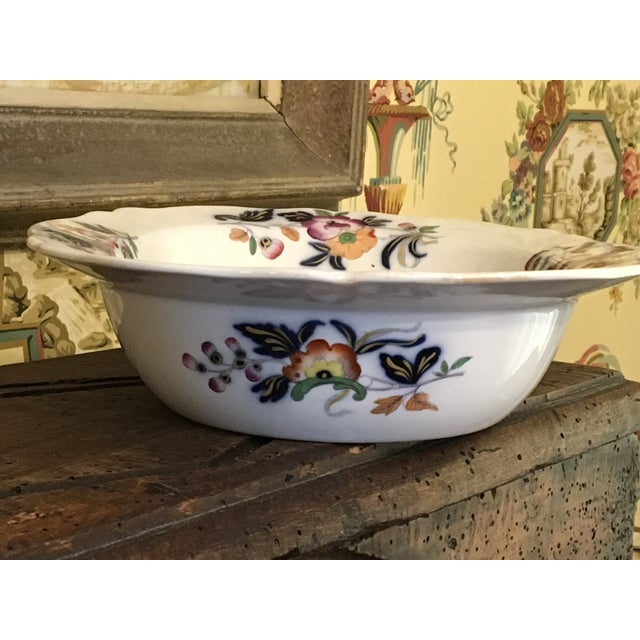 White 1820s Antique English Masons Ironstone Deep Serving Bowl For Sale - Image 8 of 12