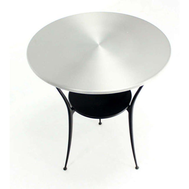 Silver Mid-Century Italian Modern Tri-Leg Cafe Table by Arper For Sale - Image 8 of 10