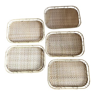 Bamboo Trays With Handmade Weave - Set of 5 For Sale