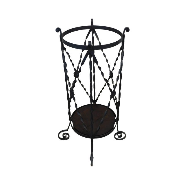 Aesthetic Antique Hand Wrought Iron Umbrella Stand For Sale