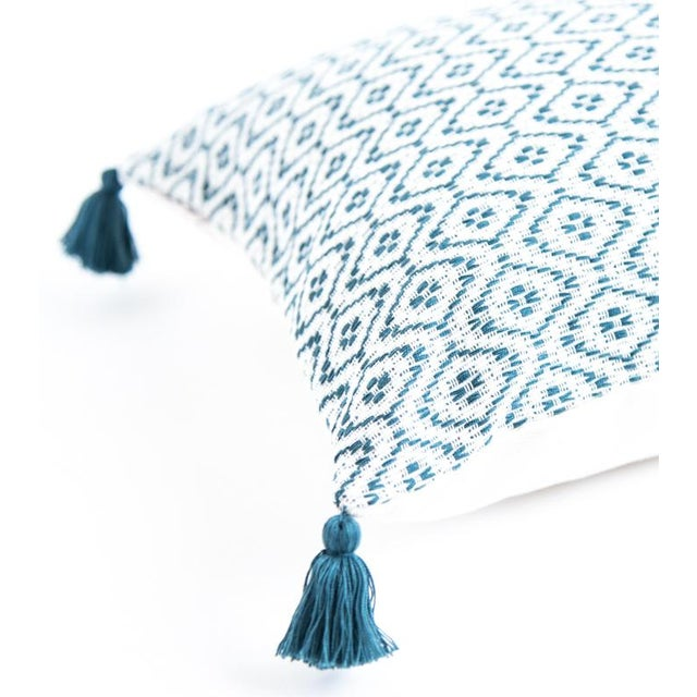 Boho Chic Teal Handwoven Mexican Pillows - Set of 3 For Sale - Image 3 of 6