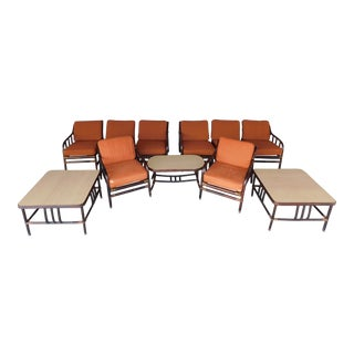 Ficks Reed Vintage Mid Century Rattan 11pc Patio Set For Sale