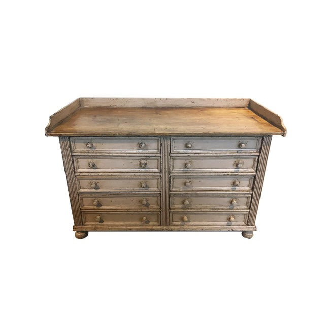 Brown 10 Drawer English Antiqued Buffet For Sale - Image 8 of 8