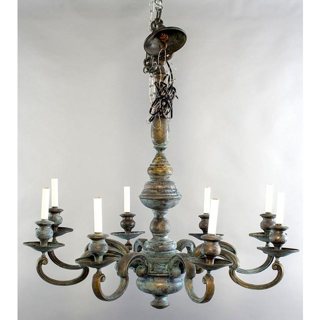 Large Eight Light Green Patinated Brass Chandelier For Sale In Detroit - Image 6 of 6