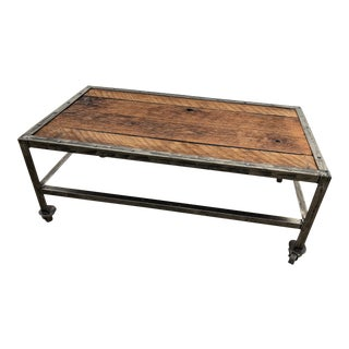 Custom Made Industrial Coffee Table For Sale