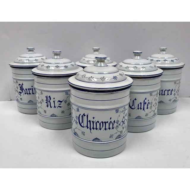 French Farmhouse Kitchen Must Haves. Set of six enamel kitchen canisters. Beautiful hand painted country french design....