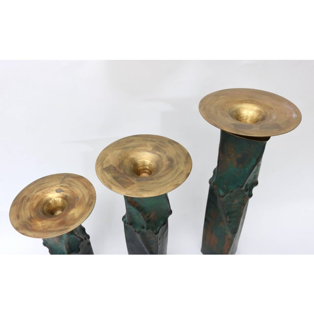 Metal Brutalist Oxodized Copper and Brass Candleholders - Set of 3 For Sale - Image 7 of 11