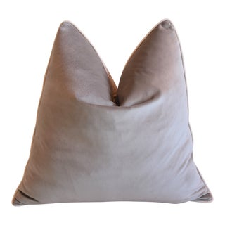 "Dove Gray With Bone White Velvet Cord Trim Feather/Down Pillow 24"" Square For Sale"