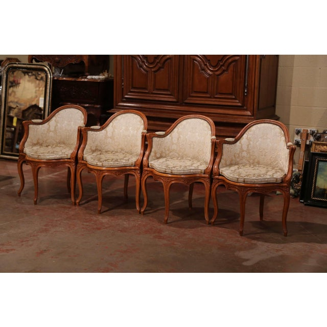 Place these four, Louis XV antique chairs around a game table for comfort and style. Crafted in Lyon, France, circa 1920,...