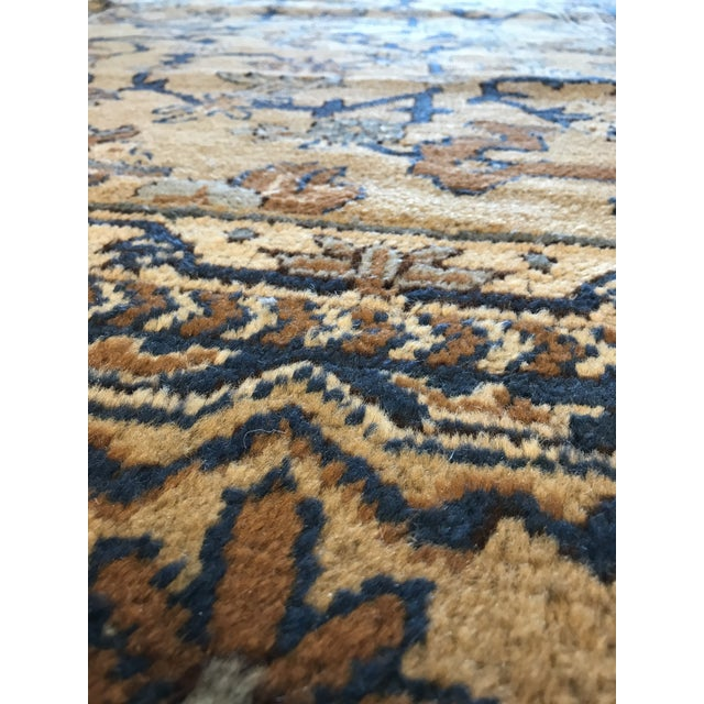 Antique Blue & Tan Turkish Rug - 8′10″ × 11′7″ For Sale - Image 10 of 12