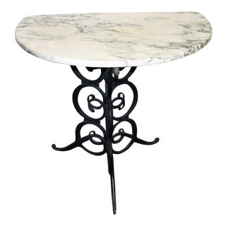 1960s Transitional Marble Topped Demi-Lune Console Table With Iron Base For Sale