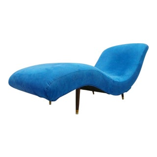 Mid-Century Modern Adrian Pearsall Style Blue Upholstered Waive Chaise Lounge For Sale