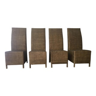Mid Century Modern Rattan Dining Chairs - Set of 4 For Sale