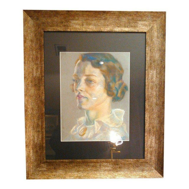Paper 1936 Art Deco Portrait of Woman Original Pastel on Paper, Signed by the Artist For Sale - Image 7 of 8