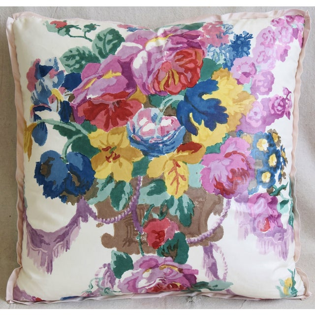 """Custom-tailored pillow in Hazelton House """"Pulbrook Bouquet"""" hand-printed/blocked fabric depicting a beautiful colorful..."""