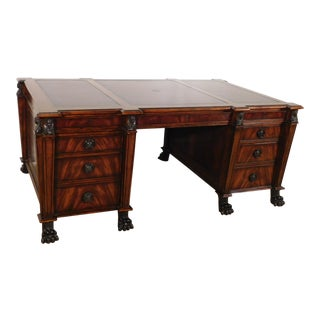 Magnificent Hickory White Mahogany 3 Piece Leather Top Claw Foot Partner Desk For Sale