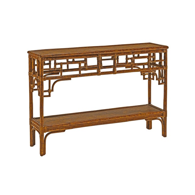 Coastal Pagoda Console, Small, Brown, Rattan For Sale - Image 3 of 3