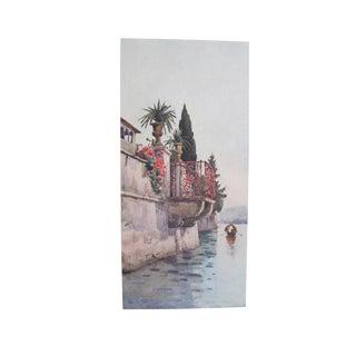 1905 Original Italian Print - Italian Travel Colour Plate - a Balcony For Sale