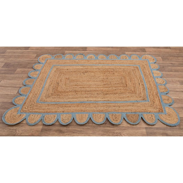 Textile Scallop Jute Classic Blue Hand Made Rug - 5x7Ft. For Sale - Image 7 of 8