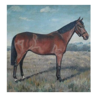 Antique English Oil Painting, Bay Horse , E Richardson For Sale
