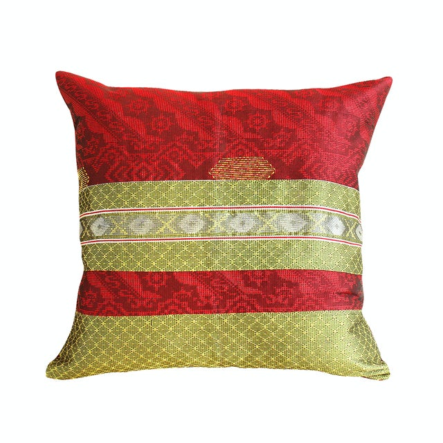 Red & Gold Handwoven, Bohemian Style, Thanksgiving Ikat Pillow Cover - Pair - Image 1 of 4