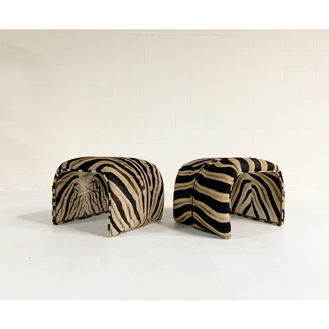 Waterfall Ottomans in Zebra Hide, Pair For Sale - Image 9 of 9