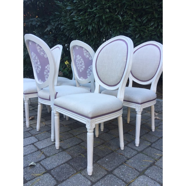 2010s Modern Custom-Upholstered Louis-Style Round Dining Side Chairs- Set of 8 For Sale - Image 5 of 11