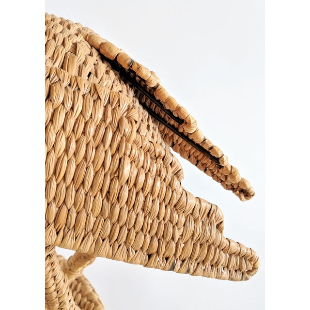 Mario Lopez Torres 1974 Monumental Egret Wicker Table Lamp For Sale - Image 11 of 13
