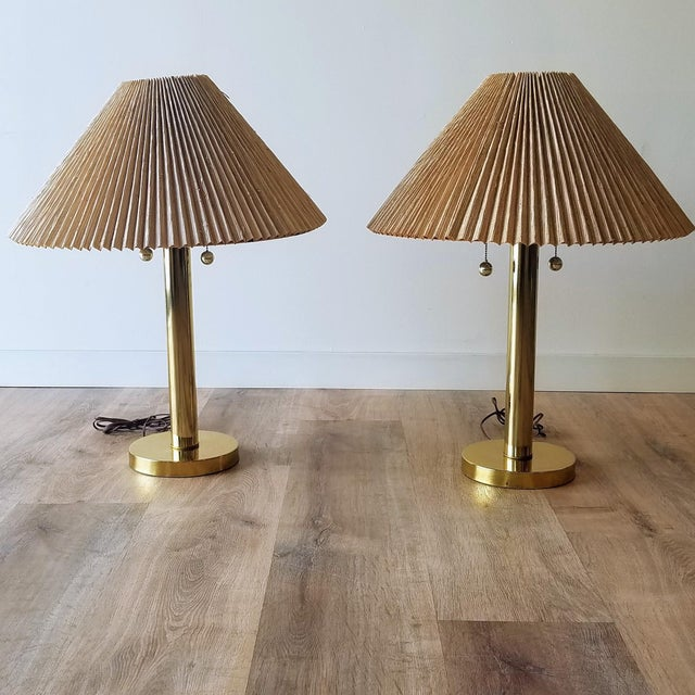 Mid-Century Brass Table Lamps With Original Shades - a Pair For Sale - Image 12 of 13