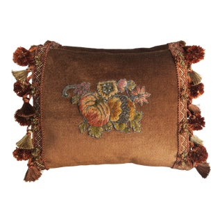 Metallic & Chenille Appliqued Pillows, Pair