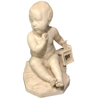 """Enfant à La Cage"" Marble Sculpture After Jean-Baptiste Pigalle For Sale"
