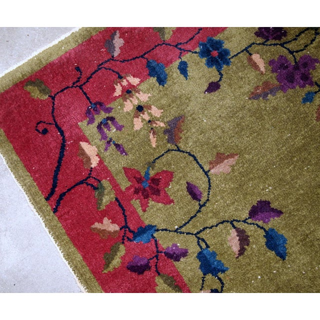 1920s, Handmade Antique Art Deco Chinese Rug 3.1' X 4.10' For Sale - Image 9 of 11