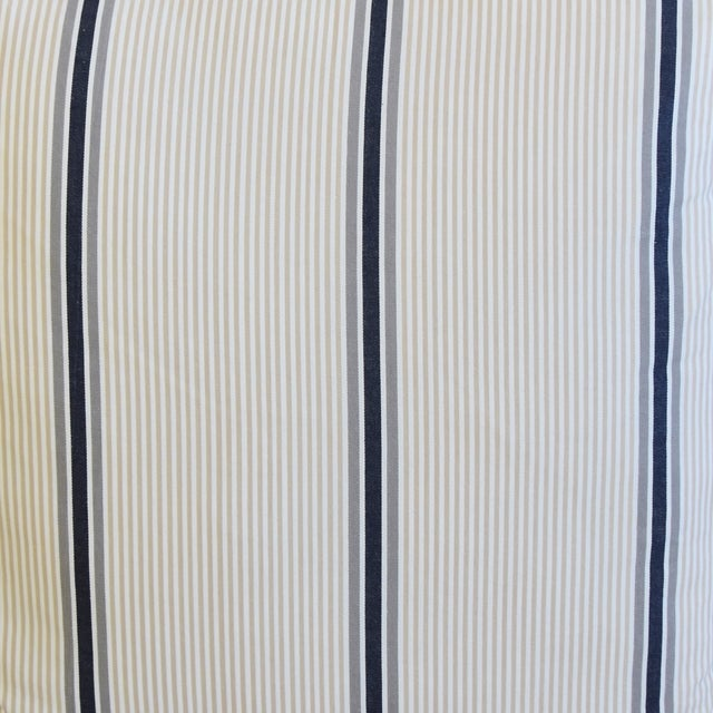 """French Blue/Gray/Tan/White Striped Ticking Feather/Down Pillows 23"""" Square - Pair For Sale - Image 4 of 12"""
