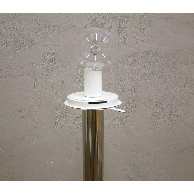 White 1960s Mazzega Style Tubular Chrome and Murano Glass Floor Lamp For Sale - Image 8 of 9