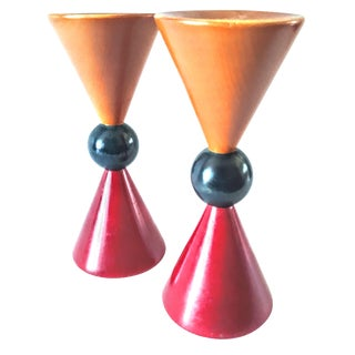 Vintage Mid Century Modern Manzoni Pietro ' Doppio Cono ' Wood Candle Holders - a Pair For Sale
